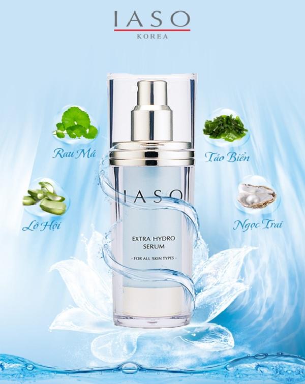 Tinh chất trắng da dành cho da nhạy cảm của IASO được chiết xuất từ khoáng chất và Elastin từ tảo biển giúp tái tạo da và bổ sung khoáng chất