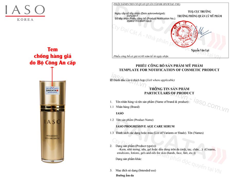 Số công bố mỹ phẩm của Tinh chất ngăn ngừa lão hóa IASO
